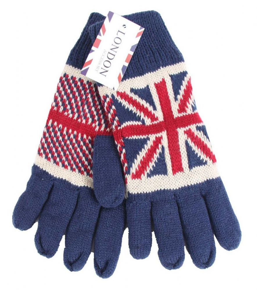 Union Jack knitted Quality thick Gloves GL5659